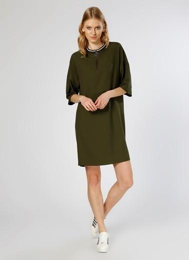 Limon Company Yarım Kollu Fermuarlı Kısa Kollu Elbise Haki